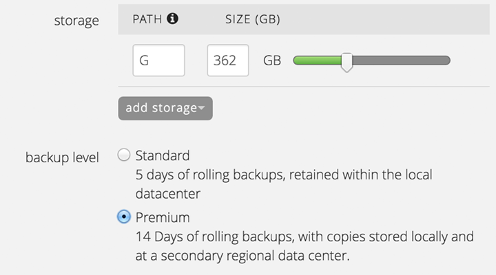 Choose from two levels of backup for every cloud server.