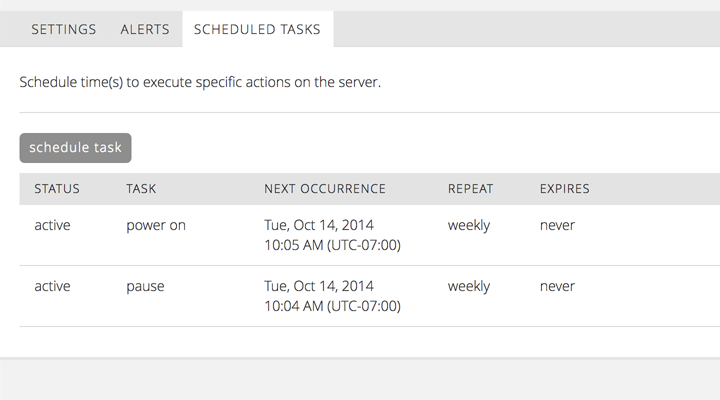 Schedule Tasks from to Control Portal to manage your cloud servers.