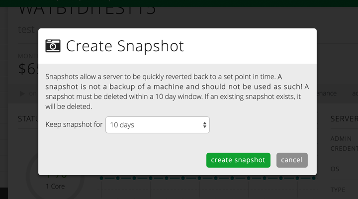 Snapshots of cloud servers give you the flexibility to quickly revert to a set point.
